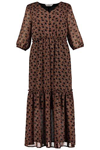 Studio Untold Damen Maxikleid, Gemustert, 3/4 Arm-Plus Size Kleid, Mehrfarbig (Multicolor 90), 52 (Herstellergröße: 50+)
