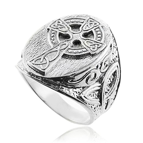 Silver Celtic Cross Trinity Knot Ring (10)