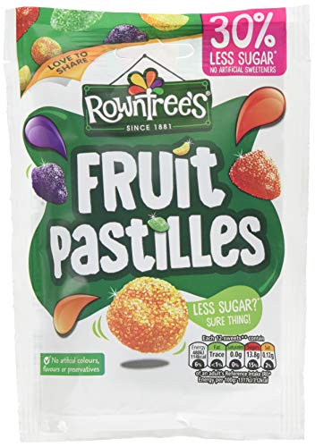 Rowntrees Fruit Pastilles 30 Percent Reduced Sugar Sweets Sharing Pouch, 110 g - Pack of 10