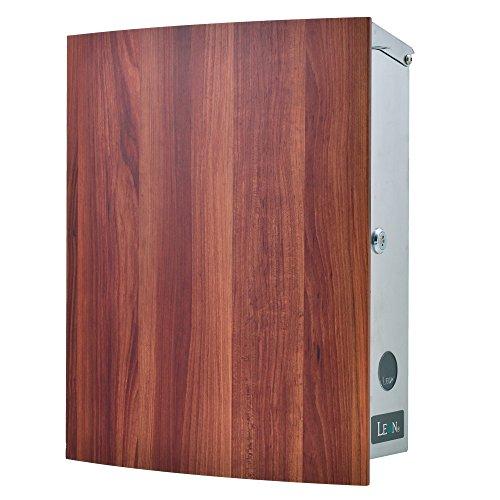 LEON (レオン) MB4504ネオ 郵便ポスト 壁掛けタイプ ステンレス製 鍵付き おしゃれ 大型 ポスト 郵便受け (マグネット付き MAIL BOXシート無し) 木目調プラムウッド