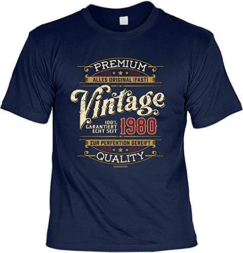 Herren Geburtstag T-Shirt - 40 Jahre - 100% Premium Vintage seit 1980 - lustige Shirts 4 Heroes Geschenk-Set Bedruckt mit Urkunde