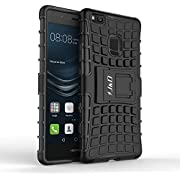 J&D Case Compatible for Huawei P9 Lite 2016 Case with Kickstand, [Dual Layer] Heavy Duty Slim Fit Hybrid Shock Proof Protective Cover Case for Huawei P9 Lite (Release in 2016) Case - Black