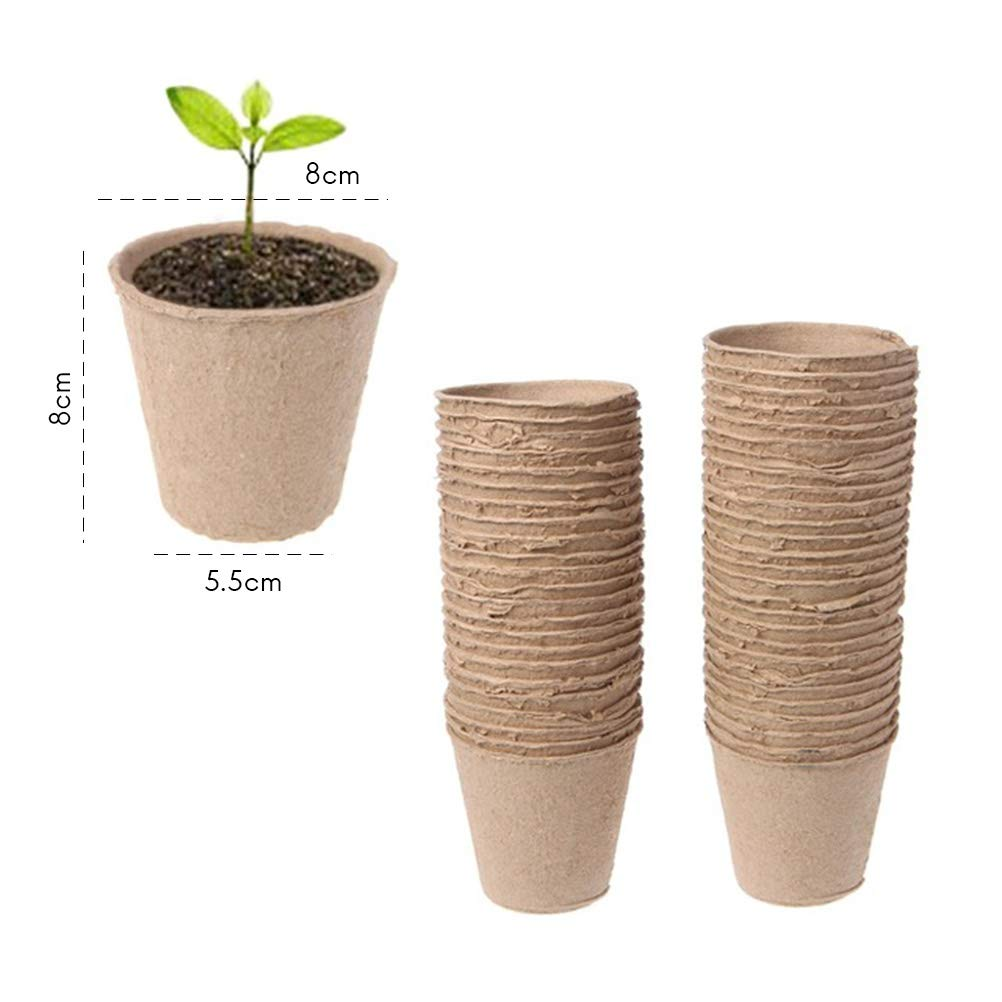 Faviye 100 macetas biodegradables, redondas para interior y ...
