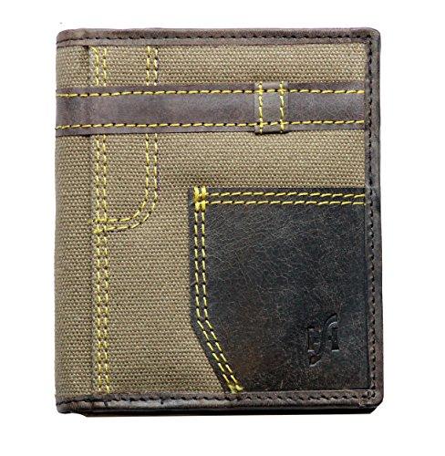 STARHIDE progettista afflitto cacciatore portafoglio in pelle marrone / denim con tasca sicura cerniera moneta. arriva in una scatola regalo