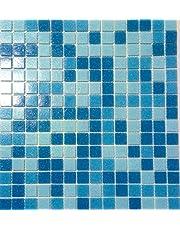 Glasmozaïek vierkante mix lichtblauw/blauw zwembad zwembadmozaïek voorzijde papier gelijmd