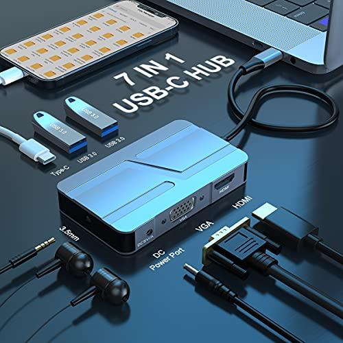 Hub USB C, Adattatore USB C 7 in 1 con HDMI 4K, VGA, 2 Porte USB 3.0,Porta USB-C,Audio da 3.5 mm,Adattatore Multiporta Hub USB C Compatibile per MacBook e Laptop USB C e Altri Dispositivi di Tipo C