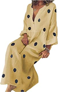 Howely Womens Polka Dot Classic Fit Loose V Neck Long Sleeve Boho Long Maxi Dress