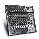 G-MARK MR80S Professional Audio mixer mixing Console 8 channels with MP3 Player +48V Phantom Power USB Bluetooth Reverb for stage