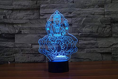 Lámpara de escritorio de publicidad personalizada de la empresa personalizada con luz de noche 3D de Buda de cuatro manos-Control remoto táctil de 12 colores