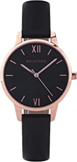 BRIGADA Quartz Wrist Watch For Women Nice Fashion Leather Small Women Watch, Analog Rose Gold Dial Genuine Leather Band Ladies' Watch