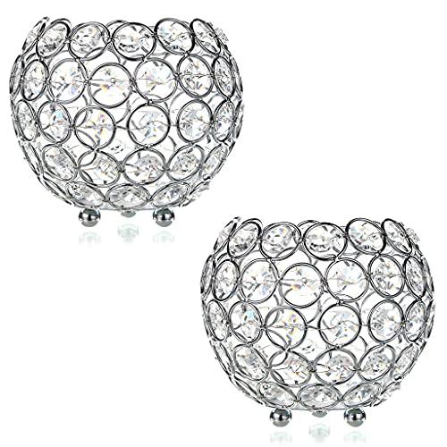 MKOIJN 2 portavelas de cristal para decoración del hogar, oficina, boda, mesa de centro de mesa (plata)