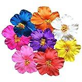 24 Pinzas de flores 1,7 pulgadas Clips de Pelo de Flor pinzas de pelo de espuma de flores de hibisco artificiales Flores Pasador de Pelo para tocado de playa, fiesta de bodas (8 colores)