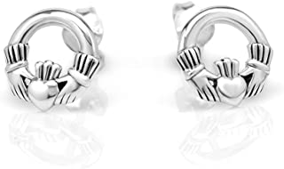 925 Sterling Silver Tiny Celtic Claddagh Friendship and Love 10 mm Post Stud Earrings