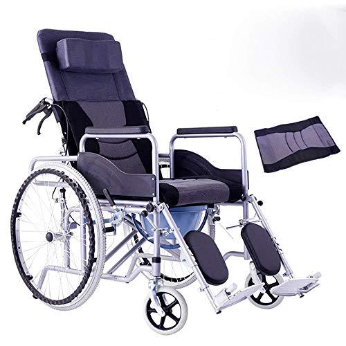 JUNYYANG Silla médica de rehabilitación, sillas de ruedas, silla de ruedas Transporte 20Kg plegable ergonómico cómodo apoyabrazos de elevación hidráulico de control de la pierna respaldo del a