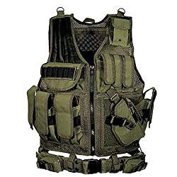 Image: Lixada Tactical Vest Adjustable Molle Military Airsoft Paintball Vest Assault Swat Vest Breathable Combat Training Vest for Outdoor Hunting, Fishing, CS War Game