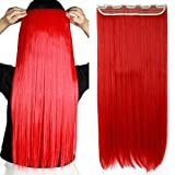 Clip in Extensions wie Echthaar Rot Haarverlängerung Haarteil hitzebeständig Glatt 1 Tresse 5 Clips 26'(66cm)-140g