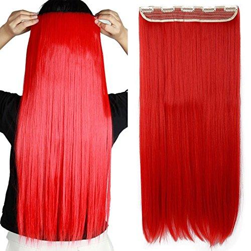 Clip in Extensions wie Echthaar Rot Haarverlängerung Haarteil hitzebeständig Glatt 1 Tresse 5 Clips 26