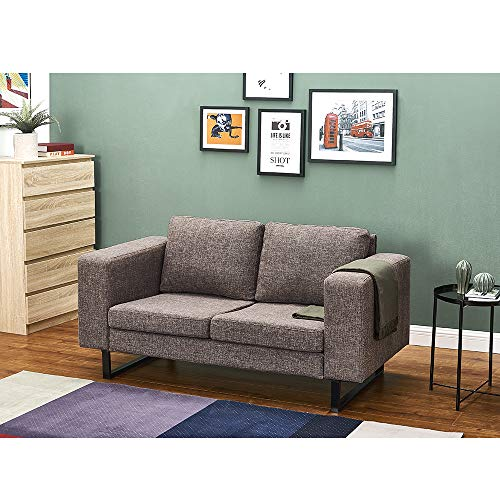 Panana Polyester Linen Fabric Sofa with Iron Feet Modern Soft Corner Couch...