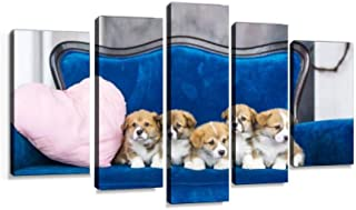 VEXRLU Five Charming Little Puppies on a Blue Sofa Holiday of Spring March 5 Pcs Premium Canvas Art Wall Hanging Paintings Modern Abstract Decoration Artworks Gift Unique Designed with Wooden Frame