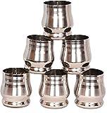 Vasos de acero inoxidable WhopperIndia de 250 ml (paquete de 6) Ideal para niños - Vasos para beber de metal - Apilables e irrompibles de primera calidad (6, 250 ml)