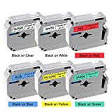 Buyalot Compatible Label Tape Replacement for Brother Ptouch M Tape 12mm 0.47 Inch M131 M231 M431 M531 M631 M731 M Label Tapes Work for PT45 PT70BM PT70 PTM95 PT65 PT85 Label Maker, 6-Pack