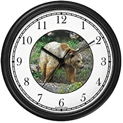 Grizzly Bear Wall Clock by WatchBuddy Timepieces (Hunter Green Frame)