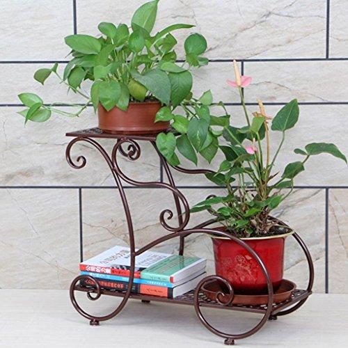CJH Étagère à fleurs en fer forgé Étage intérieur et extérieur Multi-couche Pot de fleur vert Étagère Salon Balcon Boutique de fleurs (Color : Bronze)