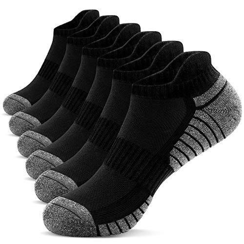 TANSTC Sneaker Socken Herren Damen Gepolsterte Socken Herren 43-46 39-42 35-38 47-50 Atmungsaktiv Laufsocken Baumwolle Sportsocken 6 Paar