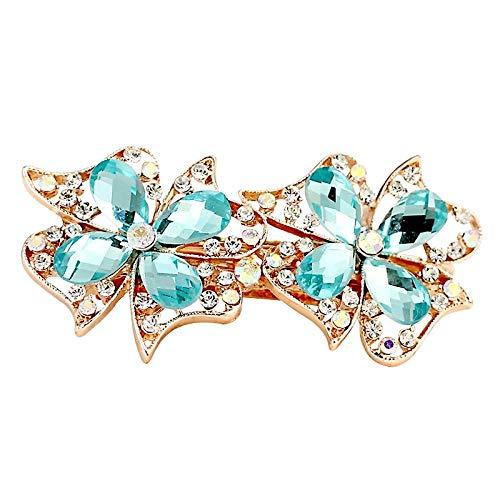 Cristal arc de cheveux accessoires strass haut clip en épingle à cheveux incrusté clip en croix printemps, deux fleurs bleu ciel