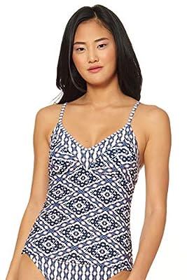 Jessica Simpson Women's Mix & Match Venice Beach Swimsuit Separates (Top & Bottom), Crossed Back Tankini, S