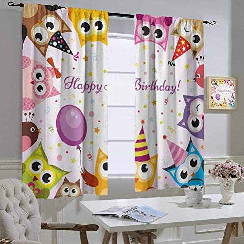 Affordable Mozenou Kids Birthday Curtain for Bedroom Birthday Party Owl Family with Colorful Cone ...