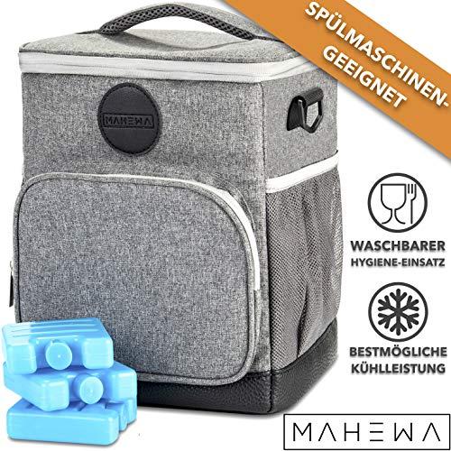 MAHEWA® Kühltasche 10L Lunch-Tasche Thermo-Tasche | Wasserdichter Einsatz Entnehmbar Spülmaschinen-waschbar | Isoliertasche Klein Faltbar Leicht Isolierte Essen-Tasche inkl. 3X Kühlakku