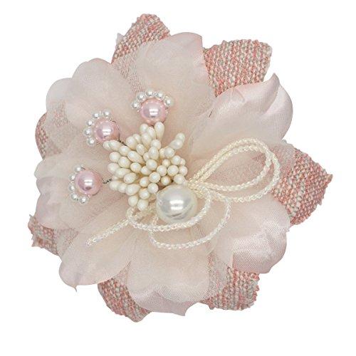 [鎌倉工芸] ツイード と サテン の スパーク フラワー クリップ付き フォーマル コサージュ ピンク