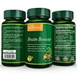Natrition Brain Booster - Ginkgo Biloba, Turmeric, Cistanche Tubulosa, Fo-ti Extract Blend - Natural Antioxidant Support for Brain Function - Clarity, Focus and Memory Enhance - 90 Veggie Capsules