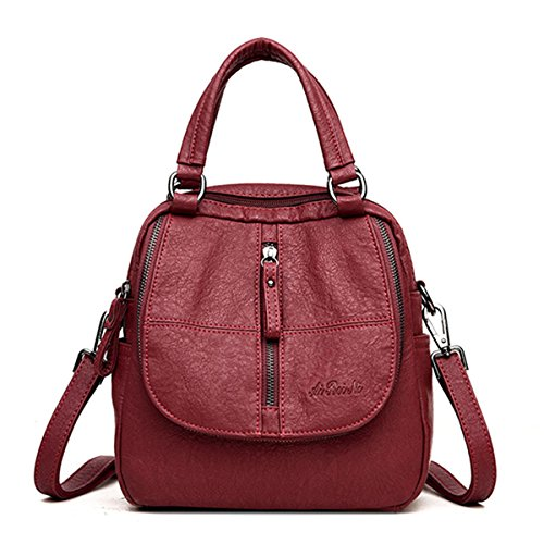 Fashion Backpack, JOSEKO Women High-end Multifunction Soft PU Leather Handbag Double Layer Large Capacity Backpack Wine Red
