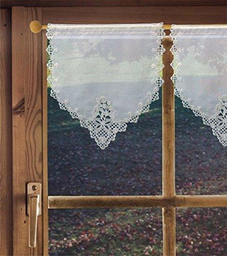 Scheibenhänger Margerite Landhausgardine mit Spitze in verschiedenen Größen/Scheibengardine