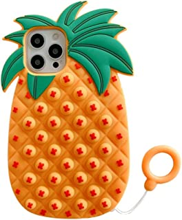 Pop It Phone Case Compatible with iPhone Case Pineapple Silicone Cute Shockproof Protective Case Push Pop Bubble Fidget To...
