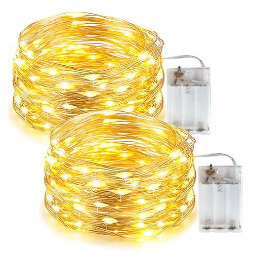 Stringa Luci LED a Batteria esterni, mini luci a batteria 100 LED con Filo Rame Lucine LED Decorative, luci a LED per camera da letto, Natale, feste, matrimoni(33 piedi bianco caldo) Confezione da 2