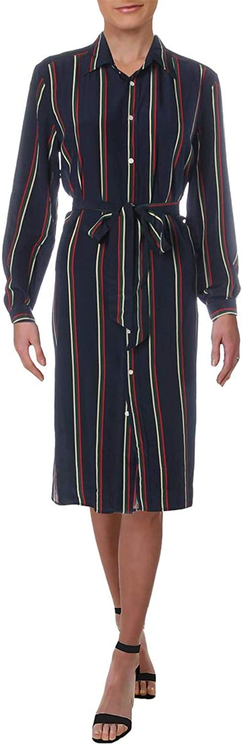 Lauren Ralph Lauren Womens Silk Striped Shirtdress