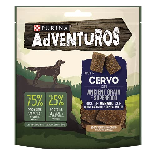 PURINA ADVENTUROS Snack per Cani, Ricco in Cervo con Ancient Grain e Superfood, 6 Confezioni da 120 g
