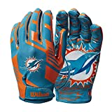 Wilson NFL Stretch Fit Football Gloves - Miami- Adult
