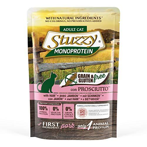 Stuzzy, Cibo Umido per Gatti Adulti al Gusto Prosciutto, Patè Monoproteico senza Grano e Glutine - Totale 1,36Kg (16 Buste da 85G)