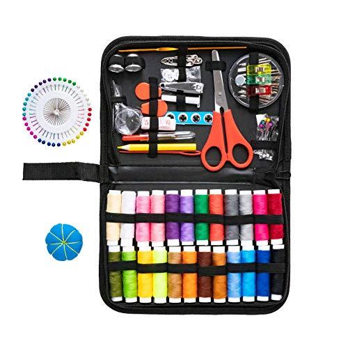 Niviy Kit de Costura 136 piezas Accesorios de Costura Set de Costura Portátil Costurero para emergencia en el hogar o en viajes Familia Bricolaje