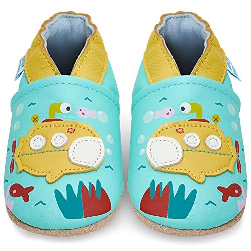 Juicy Bumbles - Weicher Leder Lauflernschuhe Krabbelschuhe Babyhausschuhe mit Wildledersohlen. Junge Mädchen Kleinkind- Gr. 18-24 Monate (Größe 24/25)- Blaue Turnschuhe