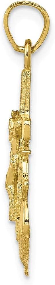 Solid 10k Yellow Gold Anchor Mariner Cross Pendant Crucifix Charm - 30mm x 16mm