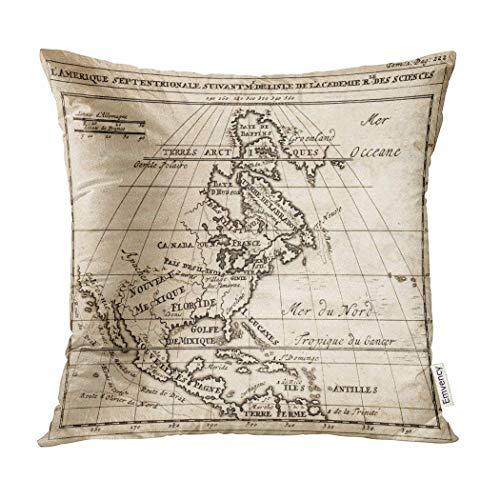 Kinhevao Almohada Decorativa de principios de 1712 Mapa Anti