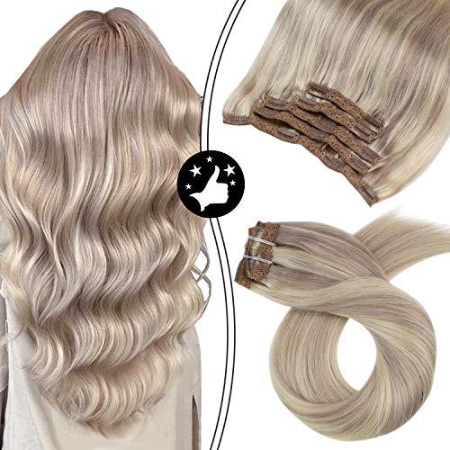 Moresoo 10 Zoll/25cm Remy Clip in Extensions Echthaar Haarverlängerung Vollkopf Brasilianischen Menschen Haar Haarfarbe #18 Aschblond to Bleach Blonde #613 70g 5 Teiliges