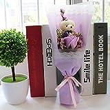 CPFYZH 3 Farben Puppe Teddybär mit Seifenblume Geschenkbox Valentinstag Kinder Geschenk Hochzeit Raumdekoration Geschenk-Violett