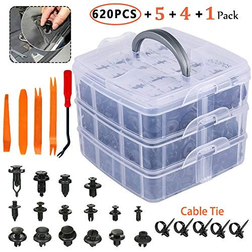 Eleven Guns 620 Pcs Car Retainer Clips, Plastic Fasteners Kit Fender Rivets Kits 16 Most Popular Sizes Auto Push Pin for GM Ford Toyota Honda Acura Chrysler