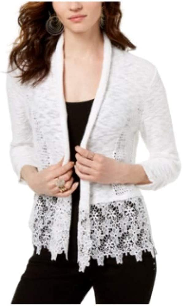 INC International Concepts Lace Trim Open Front Topper Cardigan White S